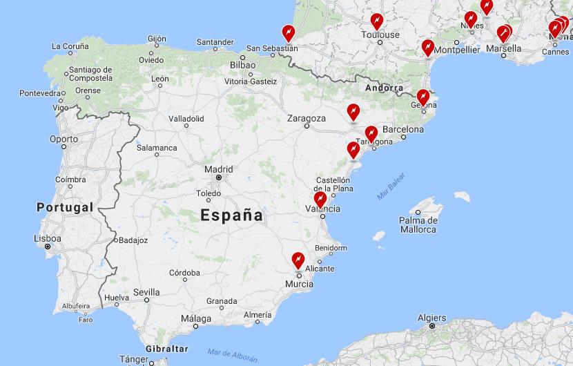 Supercargadores actuales 2016. Tesla España