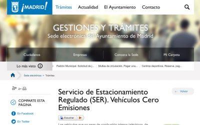 Registra tu Coche Eléctrico en el Ayuntamiento de Madrid, para estacionar en las zonas SER