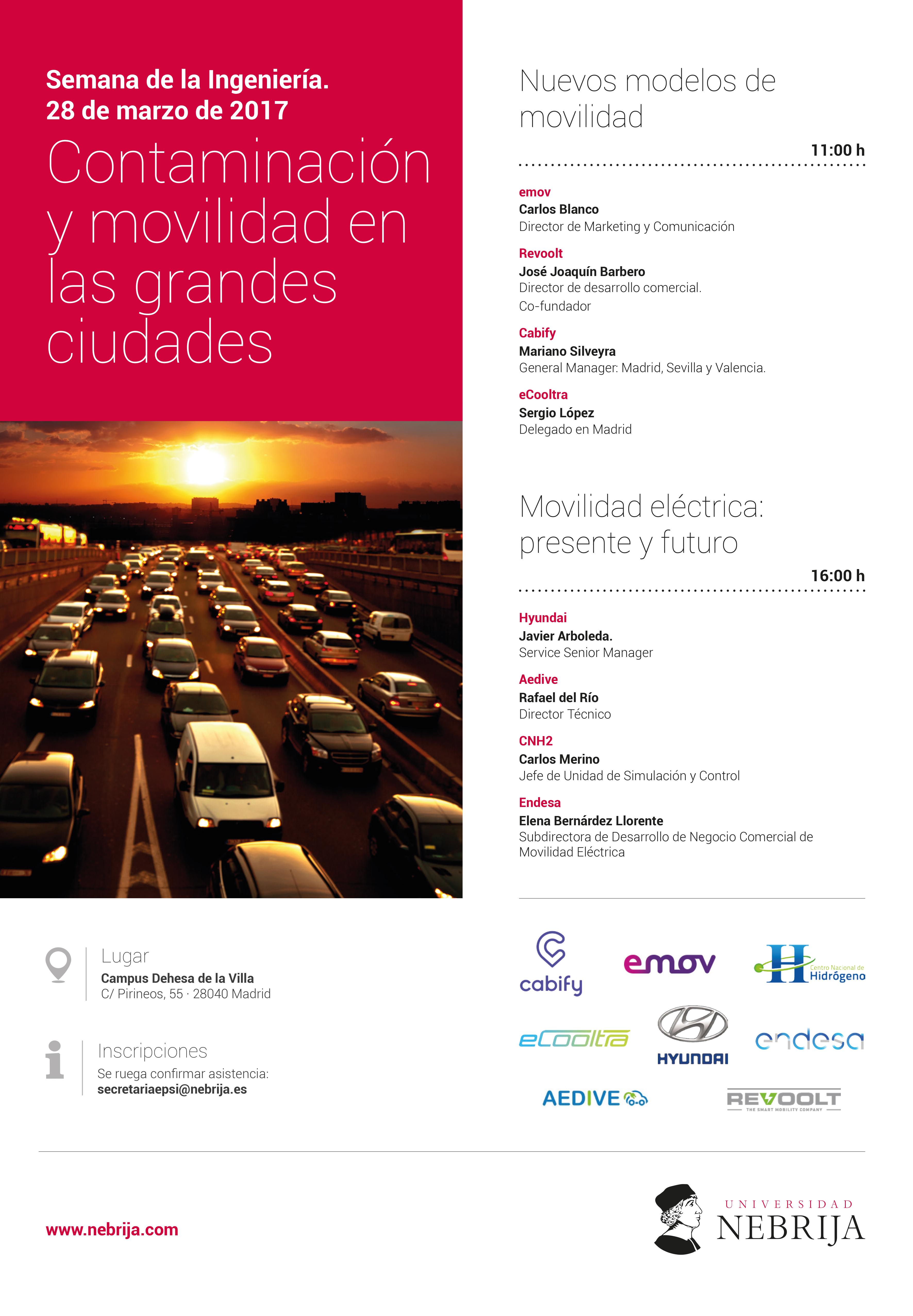 Semana de la Ingeniería. Contaminación y movilidad en las grandes ciudades. Programa